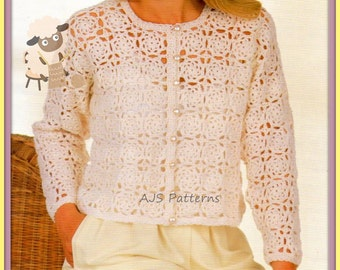 PDF Crochet Pattern for a Lady's Cardigan Top with Flower Motifs - Instant Download