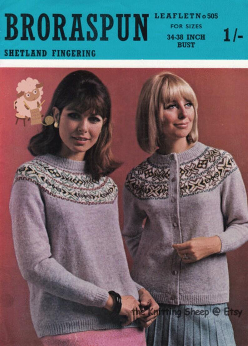 3e2bbc6879cdcb PDF Knitting Pattern Ladies Broraspun Fair Isle Circular