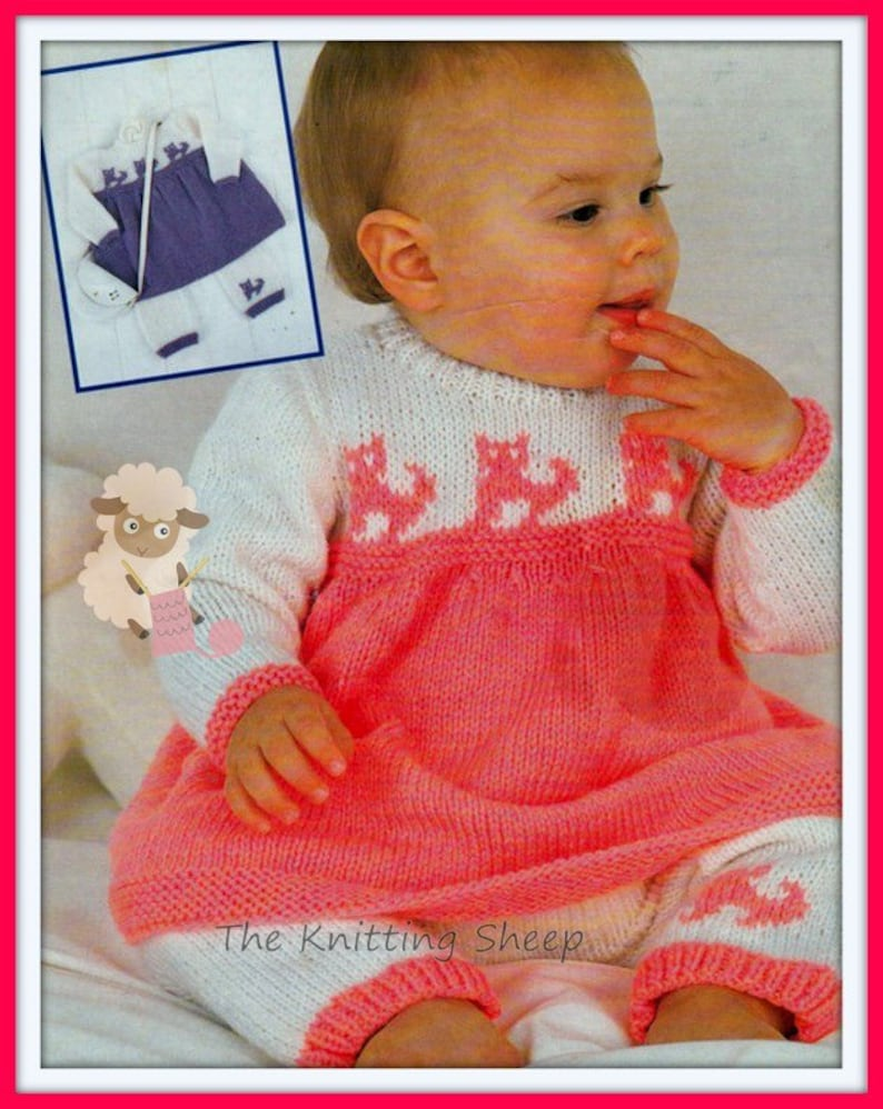 09f09fb16 PDF Knitting Pattern for a Baby Girls Dress with a Pussy cat