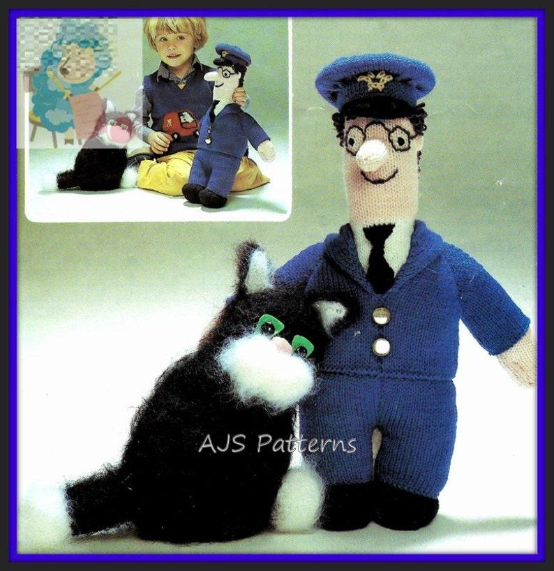 386e52d74e6c PDF Knitting Pattern - Postman Pat and Jess The Cat - Instant Download