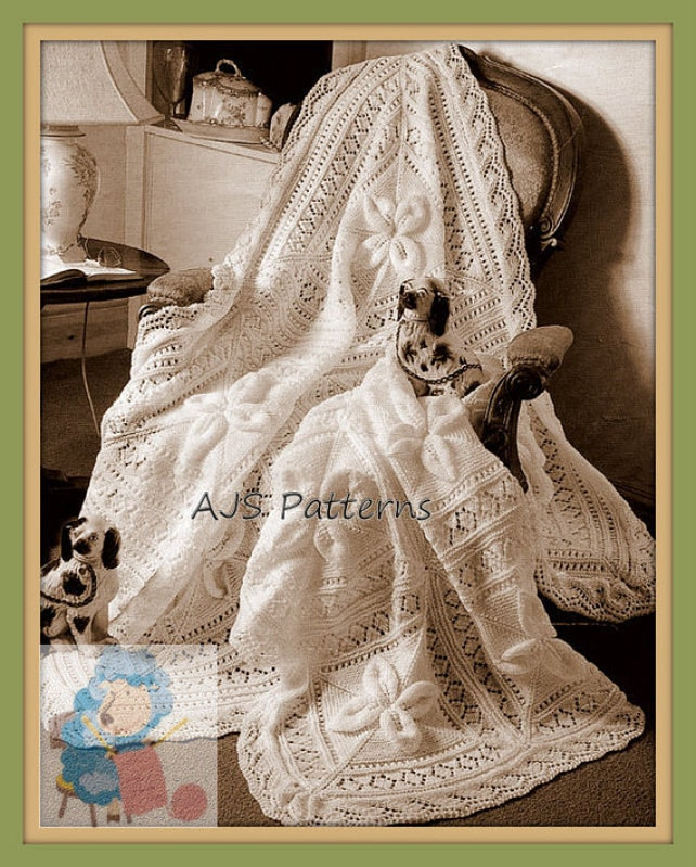 Pdf Knitting Pattern For A Heirloom Baby Shawl Cot Blanket Etsy