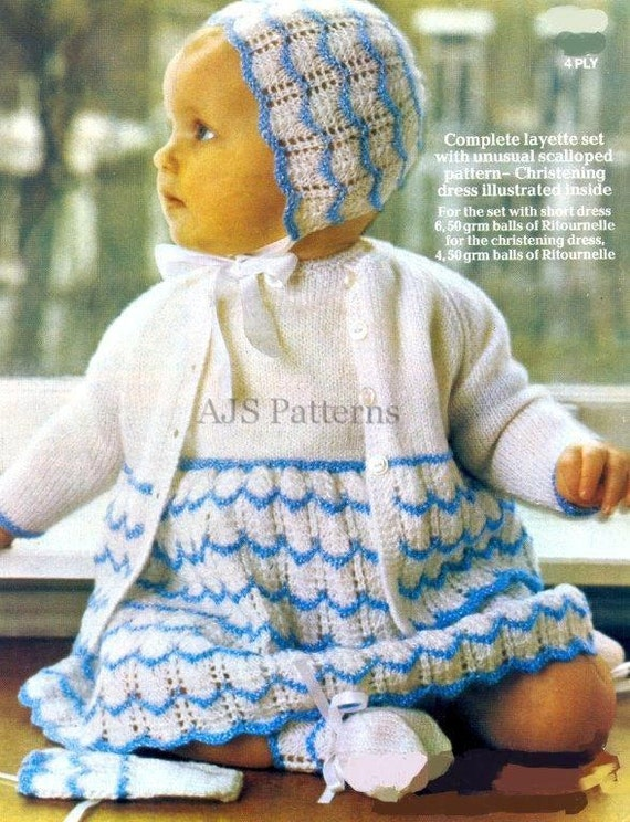 e0ba080f5 PDF Knitting Pattern for a Babies Layette Set with Attractive