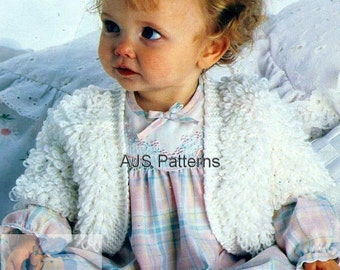 PDF Knitting Pattern  Babies Loop or Loopy Stitch Bolero Styled Jacket - Instant Download