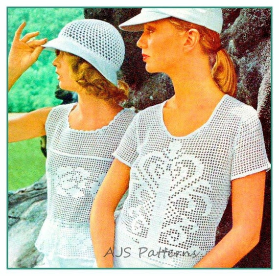 Pdf Crochet Pattern For Two Ladies Retro Tops Rose Shell And Etsy