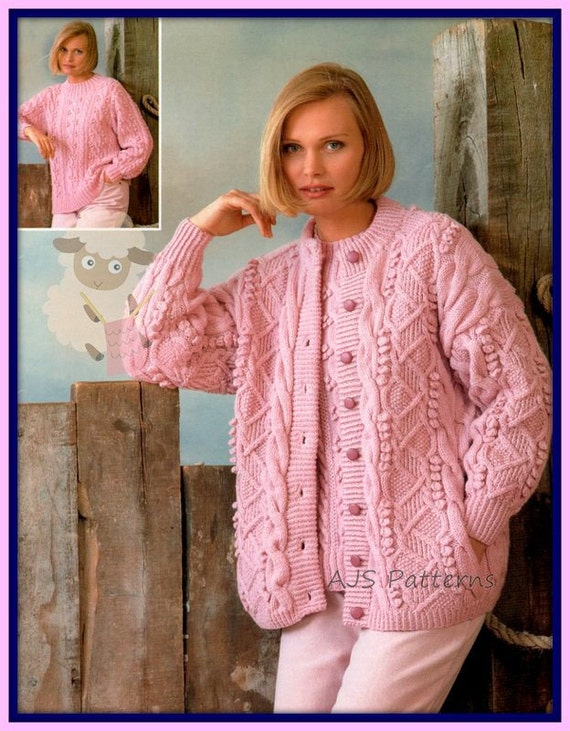 Pdf Knitting Pattern For A Ladies Cardigan Knitted In Aran Etsy