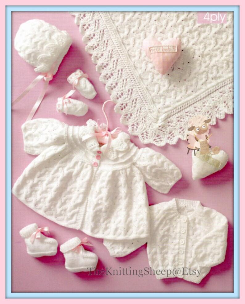 867875e63 PDF Knitting Pattern Lacy Layette Set Shawl Matinee Coat
