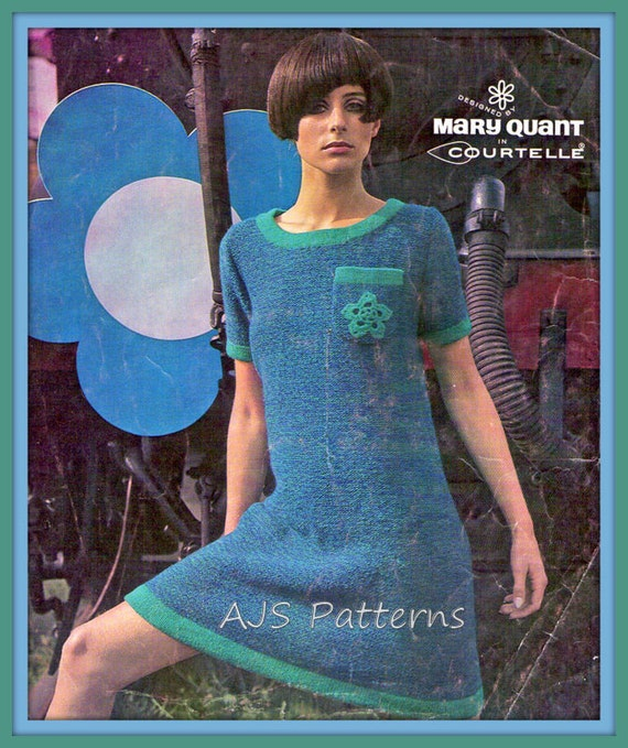 VINTAGE KNITTING PATTERN 1960/'S JUMPER DESIGNED BY MARY QUANT