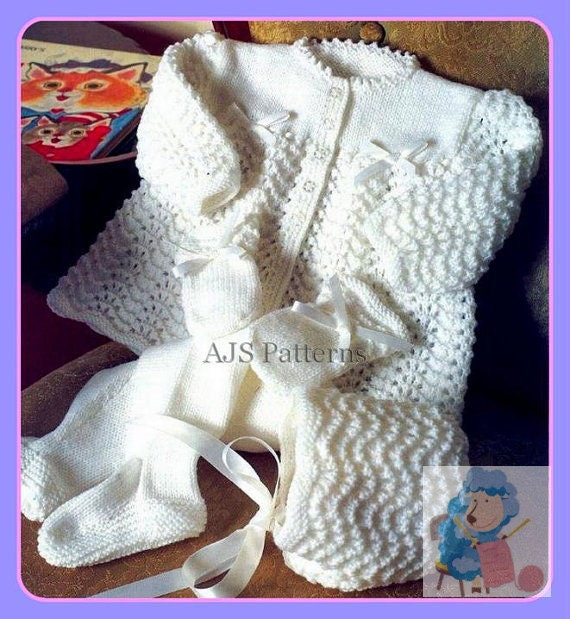 eaa8ac57a PDF Knitting Pattern for a Baby s Pram Set with Matinee