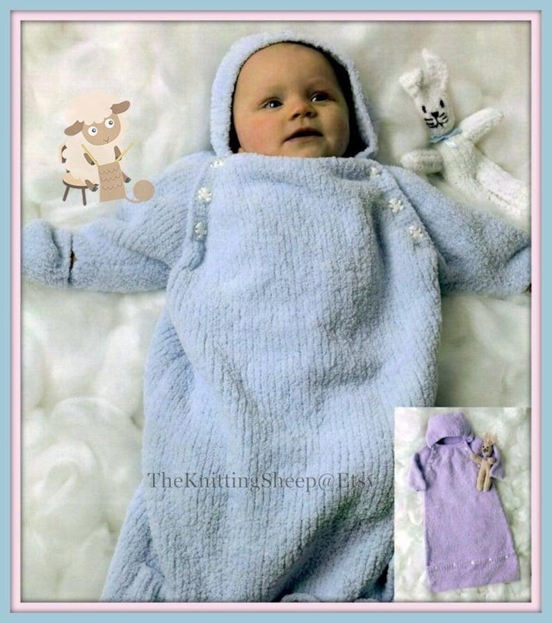 1a3692fe6e9f PDF Knitting Pattern Babies Sleeping Bag  Sleep Suit or