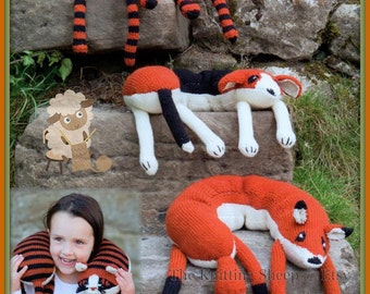 PDF Knitting Pattern Fox, Dog & Cat Neck Pillows or Soft Toys - Instant Download