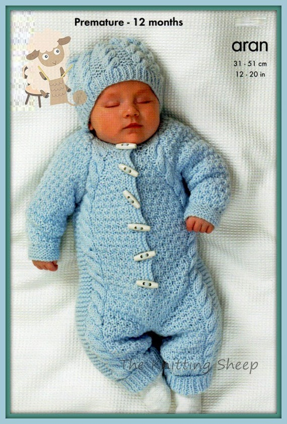 8fbb542343b7c PDF Knitting Pattern Aran Knit Baby All-In-One or Hooded