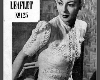 PDF Knitting pattern - 1940's Vogue Moss and Cable Stitch Jacket - Instant Download