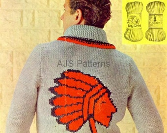 PDF Knitting Pattern For Mans Red  Indian/Native American Chief Sweater - Instant Download
