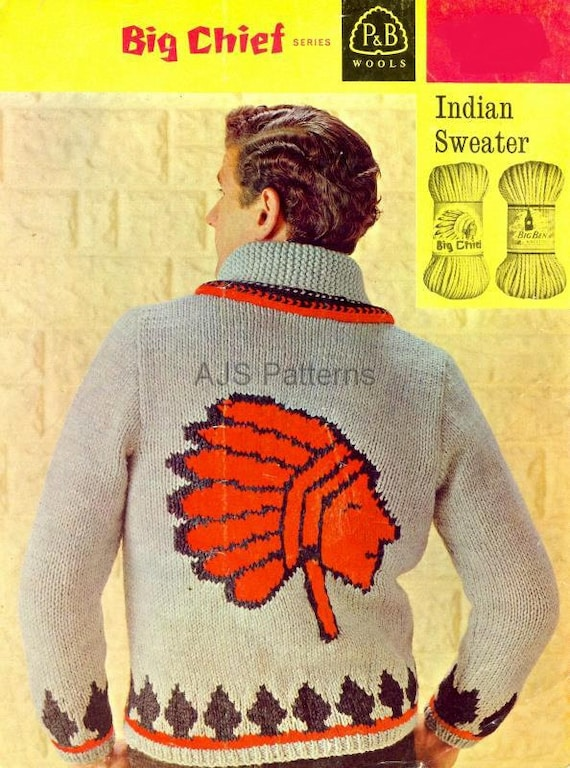 Pdf Knitting Pattern For Mans Red Indiannative American Etsy