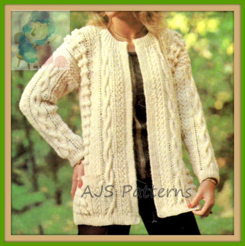 cd8ead24f PDF Knitting Pattern Stylish Edge To Edge Aran Jacket