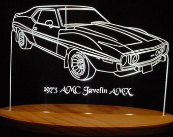 "1973 AMC Javelin AMX Edge Lit 12/"" Lighted Sign LED Plaque 73 Mirr Made in USA"