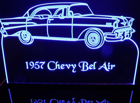 """1957 Chevy Belair Edge Lit Awesome 21/"""" Light Up Lighted Sign Plaque Mirr 57 USA"""