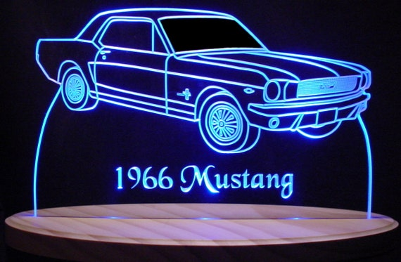 """1966 Mustang Conv Edge Lit Lighted Led Sign 11-13/"""" Plaque 66 VVD3 Made in USA"""