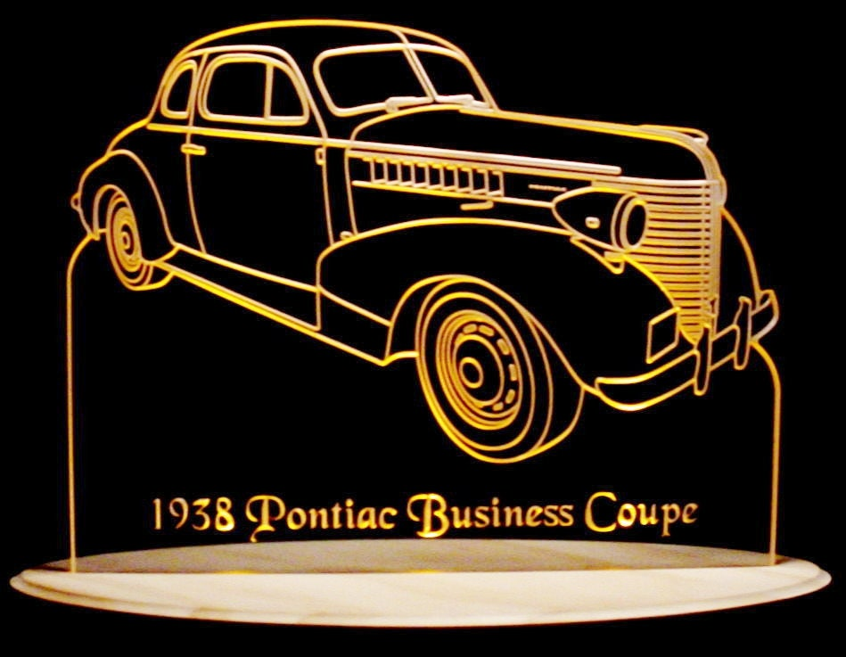 1938 pontiac business coupe acrylic lighted edge lit led sign etsy. Black Bedroom Furniture Sets. Home Design Ideas