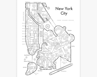 Simple Map Of New York City.New York City Map Etsy