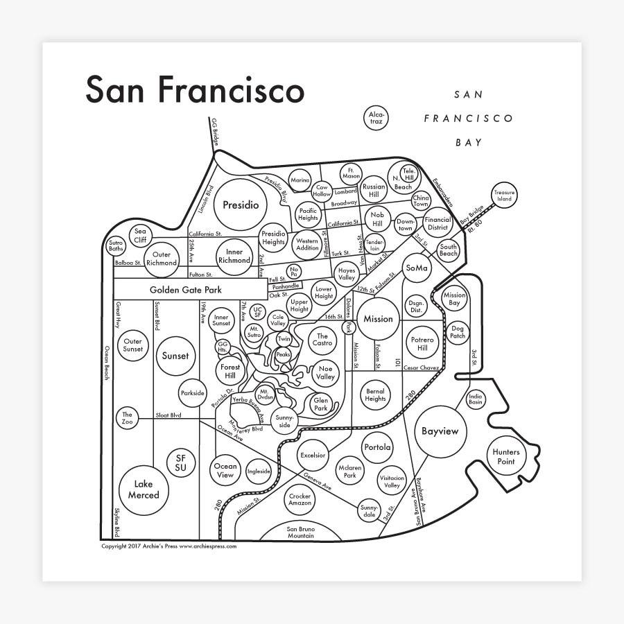"San Francisco Map 17.5"" x 17.5"" Screenprint. Beautiful Minimalist Simple Graphic Neighborhood Art Print. Cool Travel Poster Design."