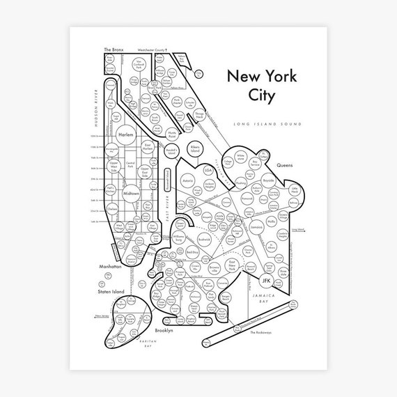 New York City map 8.5x11 Fancy Beautiful Cool | Etsy