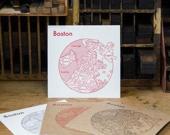 "Boston Neighborhoods Screenprint 17.5""x17.5"""