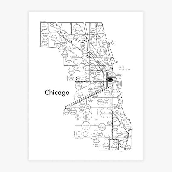 Chicago Mind Map Letterpress Simple Design | Etsy