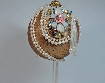 Jeweled Ornament Pink and Gold Handmade #516