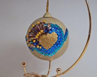 Jeweled Ornament Gold Turquoise Heart #521 Handmade OOAK