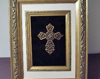 Altered Art Framed Cross Handmade #401 OOAK