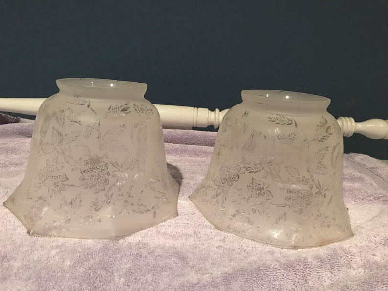 2 Matching Antique Etched  Glass Gas Lamp Shades-4 Fitters