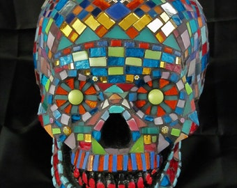 Mosaic Sugar Skull, Day of the Dead, Life Sized