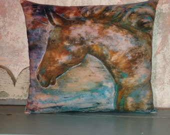 Turquoise Horse accent pillow