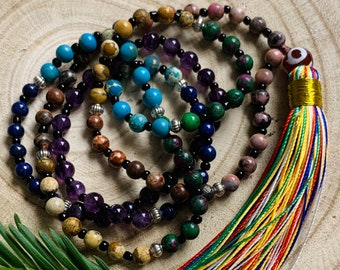 Blessed Karma Nirvana Meditation 8 mm Prayer Bead For Awakening Chakra Kundalini 108 Navratan 9 Planets Handmade Chakra Mala Beads Necklace