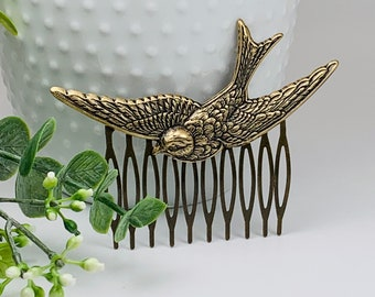 Antique Brass Flying Sparrow Hair Comb