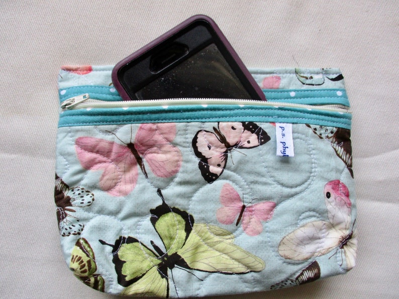 Quilted Butterfly Cell Phone Pouch Butterflies on Mint Green Cell Phone Case