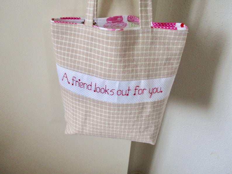 Friendship Mini Tote Bag Friendship and Cupcakes Reversible Gift Bag