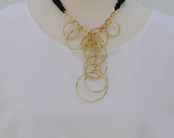 SALE - Bib Necklace, Gold Hoop Necklace, Short Necklace, Gift for her, Link Chain Necklace, Gold Hoop with black ribbon,  Holiday Gift