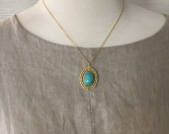Turquoise necklace -Turquoise and gold necklace, Gift for her,  every day use, Birthday gift, Short necklace