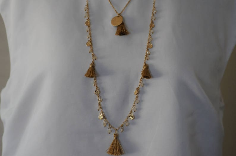Charm Necklace coin necklace SALE Gift for her Layered Tassel Necklace Crystal  Necklace Layered Gold color Necklace Holiday Gift