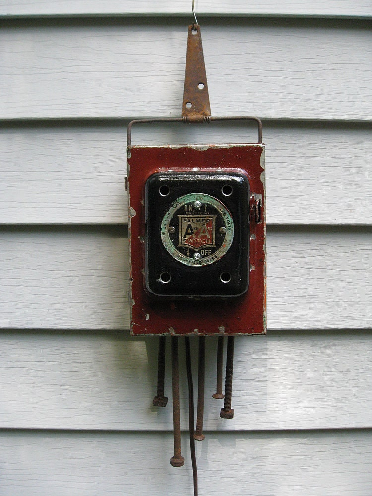 rustic industrial electrical fuse box night light etsy. Black Bedroom Furniture Sets. Home Design Ideas