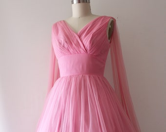 ce362242494b vintage 1960s pink party dress // early 60s pink chiffon prom dress *