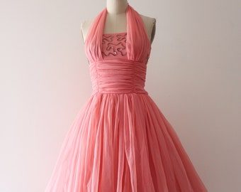 3186da0ae086 vintage 1950s pink party dress // 50s pink chiffon prom dress *