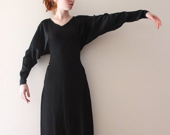 MARKED DOWN vintage 1930s black batwing sleeve dress