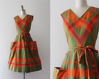 53a5e36a8d vintage 1950s dress    50s plaid cotton dress with belt
