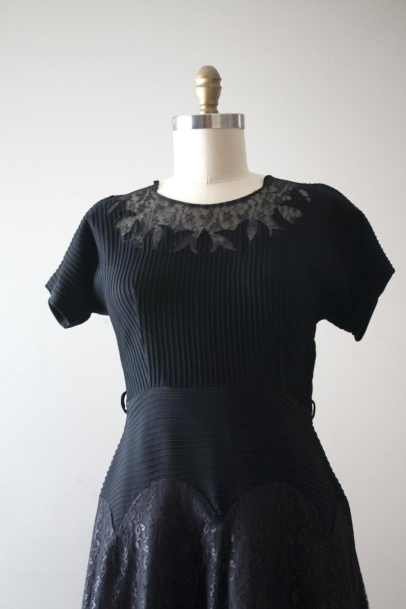 vintage 1950s black rayon dress