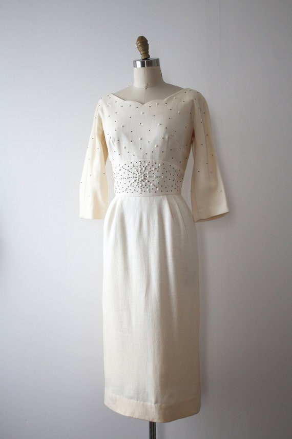 vintage 1950s cream wool dress