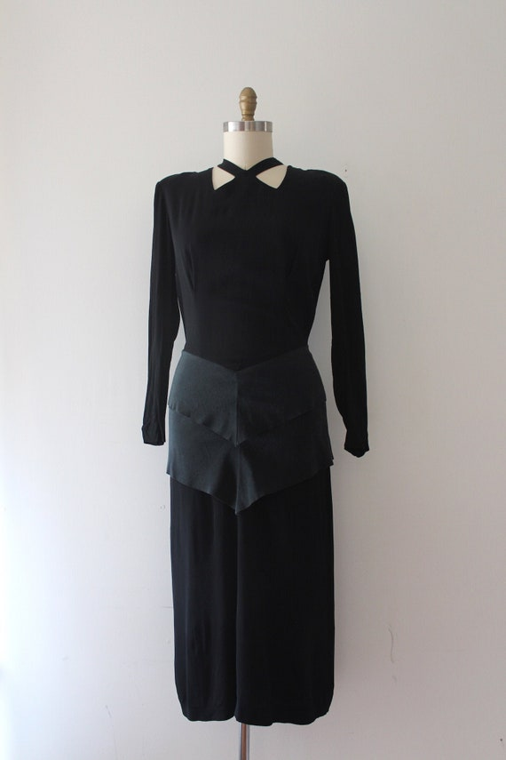 vintage 1940s black rayon dress