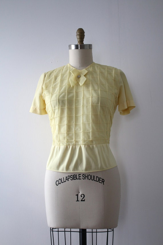 vintage 1950s sheer yellow blouse